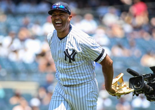 June 23, 2019; Bronx, NY, USA; Former New York Yankees pitcher Mariano Rivera (42) at the 2019 Yankees Old Timers' Day at Yankee Stadium. Mandatory Credit: Wendell Cruz-USA TODAY Sports
