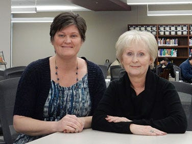Burrell College of Osteopathic Medicine Library Director Erin Palazzolo, left and  Associate Library Director Norice Lee.
