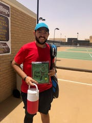 Donnie Rodriguez Jr. of Carlsbad holds the first place plaque after defeating Ryan Jimenez from Hobbs in the Hobbs Open on June 8. Rodriguez won, 6-1, 7-6(1). The Hobbs Open was a USTA Intermediate/Advanced level tournament.