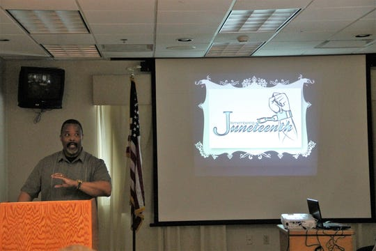 Ron Peeler talks about Juneteenth and the Great Migration at the Otero County NAACP Juneteenth Education Program June 22 at Gerald Champion Regional Medical Center Conference Center.