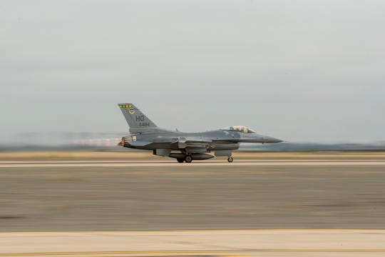 A F-16 Fighting Falcon from the 314th Fighter Squadron takes off June 4, from Marine Corps Air Station Miramar, Calif. The 314th FS and 314th Aircraft Maintenance Unit travelled to Miramar for a temporary duty assignment to conduct dissimilar aircraft combat training with F/A-18 Hornets from the Marine Fighter Attack Squadron 314.