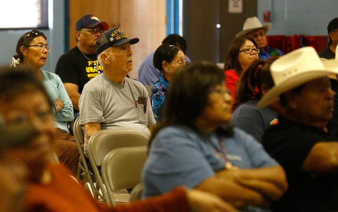 Community members participating in the eighth annual National Day of Remembrance honoring uranium mine workers on Oct. 26, 2016 at the Shiprock Chapter house.