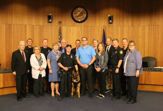Livonia's K-9 Colt was presented with a new ballistic vest at the City Council's June 17, 2019, meeting.  His handler, Officer Matt Petrul, had requested the vest.