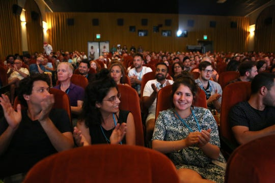 Palm Springs International ShortFest filmmakers and attendees clap during the Audience Award announcements at the Palm Springs Cultural Center in Palm Springs on Sunday, June 23, 2019.