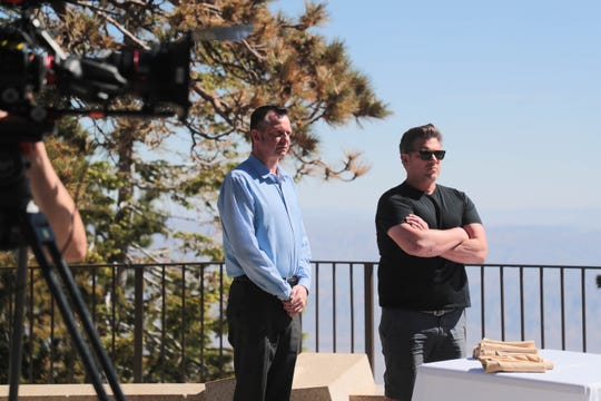 John Fritch, left, chef at Peaks restaurant, and Tyler Florence prepare to judge salads on an episode of 'The Great Food Truck Race' at the Palm Springs Aerial Tramway in Palm Springs, Calif., on Monday, June 24, 2019.