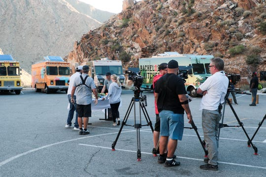 Crew members of 'The Great Food Truck Race' set up to shoot an episode at the Palm Springs Aerial Tramway in Palm Springs, Calif. on Monday, June 24, 2019.