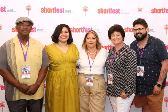 Palm Springs International ShortFest artistic director Liliana Rodriquez, second from left, is photographed with Local Jury members Woody Woodson, left, Patricia Garza-Elsperger, Denise Goolsby and Sergio Pinedo at the Palm Springs Cultural Center in Palm Springs on Sunday, June 23, 2019.