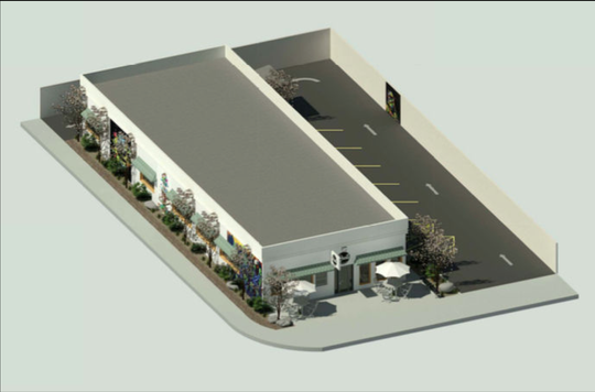 The city of Coachella is considering a proposal for the Roots coffeeshop and cannabis dispensary in downtown Coachella. The rendering shows the property at 791 Orchard St.