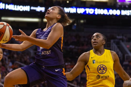 Phoenix Mercury guard Leilani Mitchell goes up for a basket during the game against the Los Angeles Sparks on June 23, 2019, in Phoenix. The Phoenix Mercury defeated the LA Sparks 82-72.