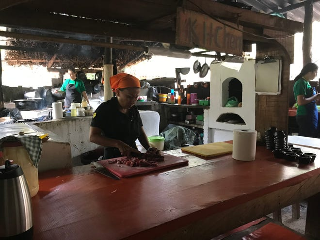 Women cooking for tourists near Puerto Vallarta, Mexico.