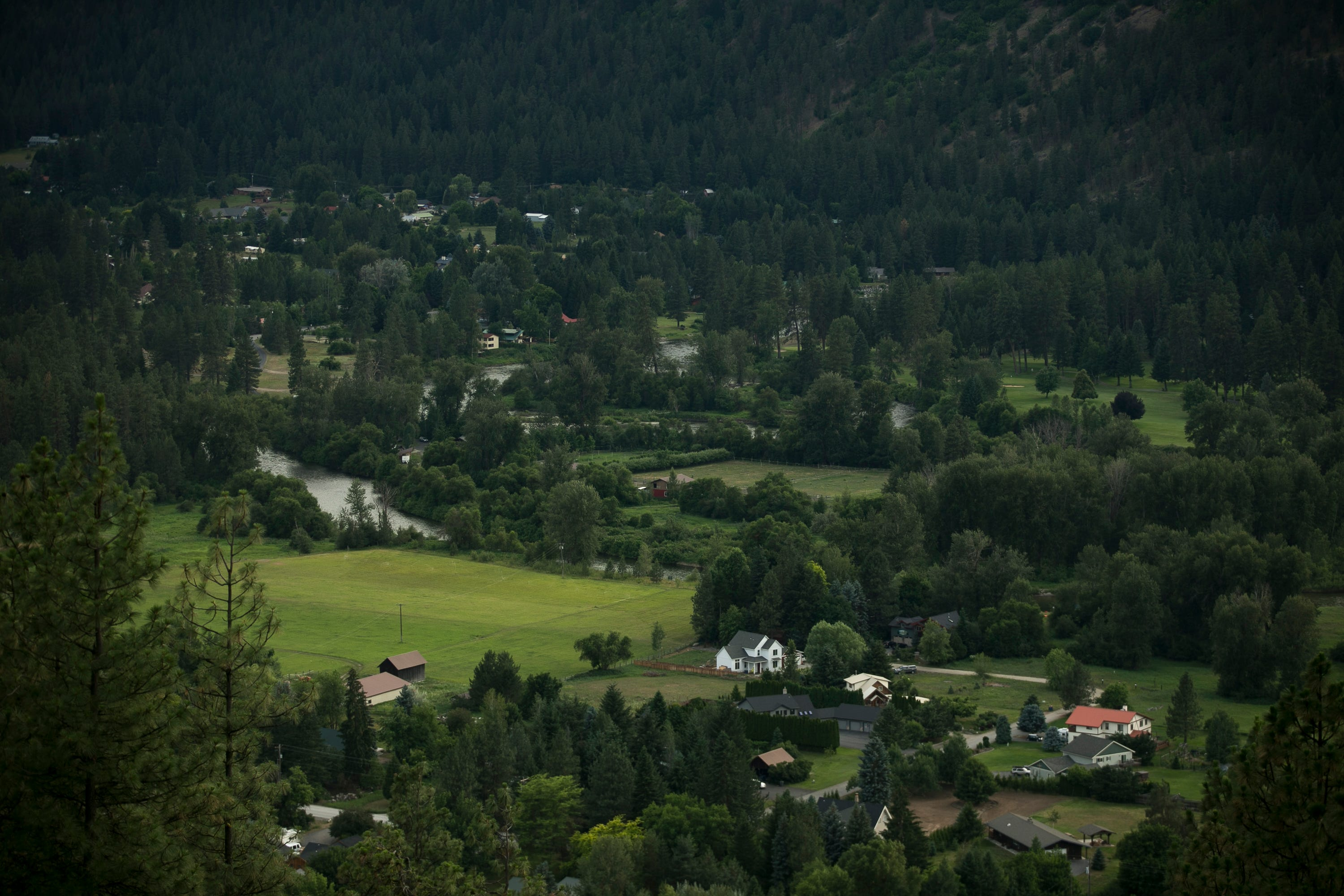 Homes sit nestled in Icicle Canyon in Leavenworth, Washington, in June 2019. Leavenworth has one of the highest fire hazard potential scores in the state.