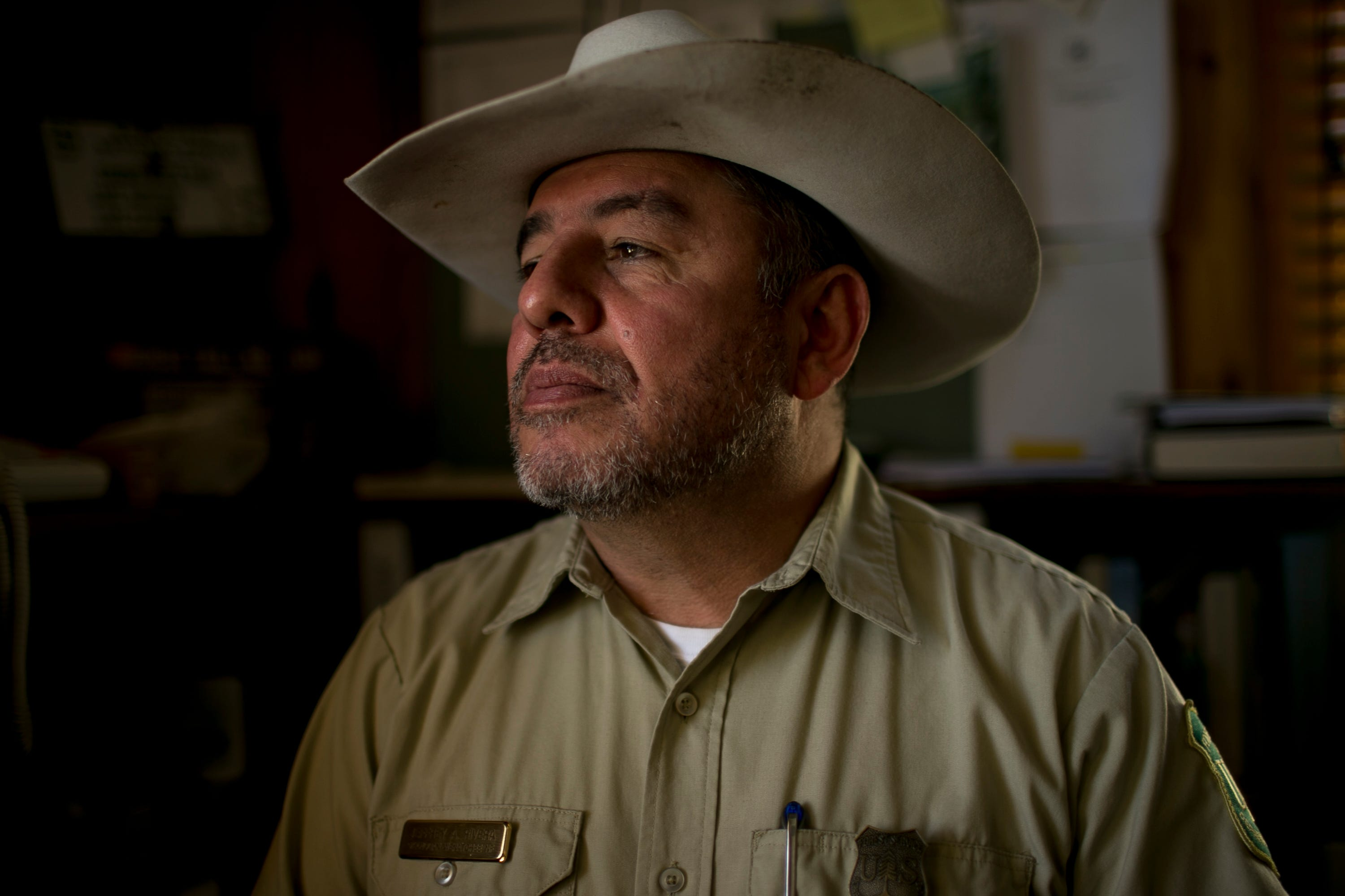 Jeff Rivera, the district ranger for the Wenatchee River Ranger District, sits in his office in Leavenworth, Washington, on June 18, 2019.