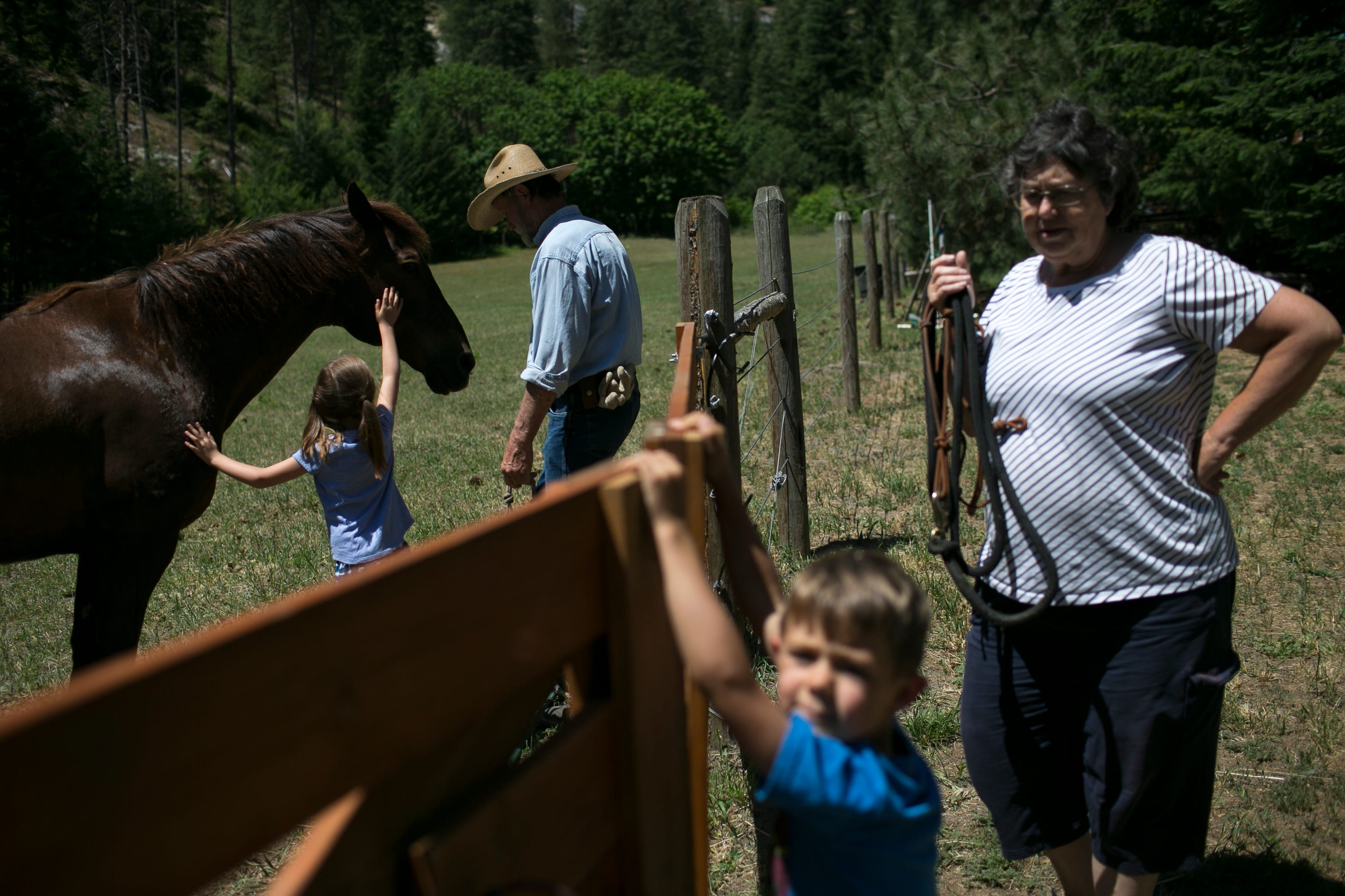 From left-to-right: 6-year-old Brookelyn Frank brings in the family's horse with her grandfather Ross Frank while 4-year-old Tanner Frank and Tanner and Brookelyn's grandmother Marianne Frank wait to open the gate on the Frank's farm in Leavenworth, Washington, on June 17, 2019. Frank and his wife Marianne moved to the property in 1980s and have been operating it as a horse ranch and event venue ever since. Frank has volunteered on several wildfires in the area and plays a big part in educating the community on fuel reduction.