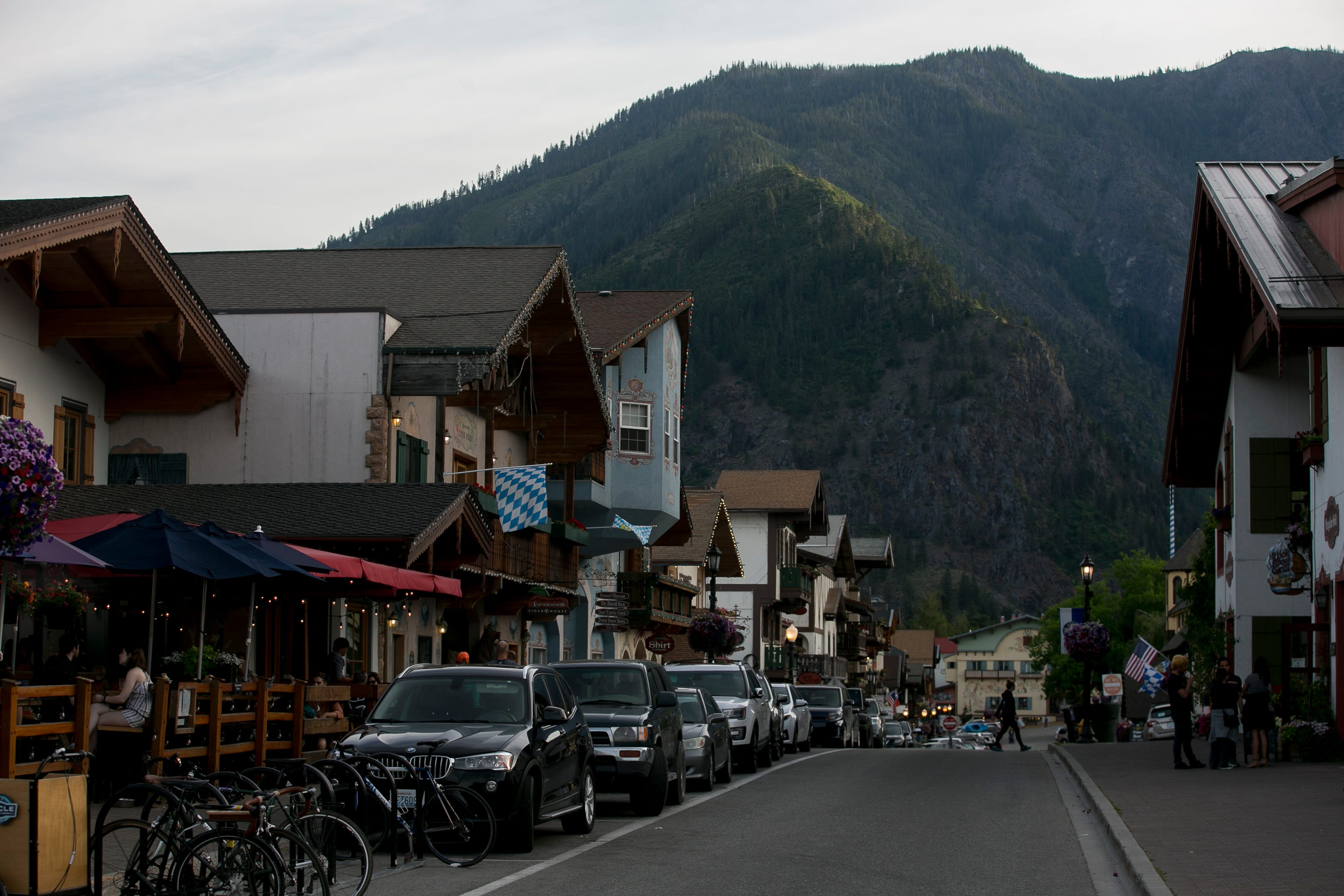 Tourists enjoy the downtown Bavarian themed business center in Leavenworth, Washington, on June 17, 2019.