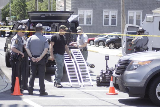Police responded to reports of a bomb threat shortly before 9 a.m. in the rear parking lot of the Bahney House in Myerstown, Lebanon County on Sunday morning.