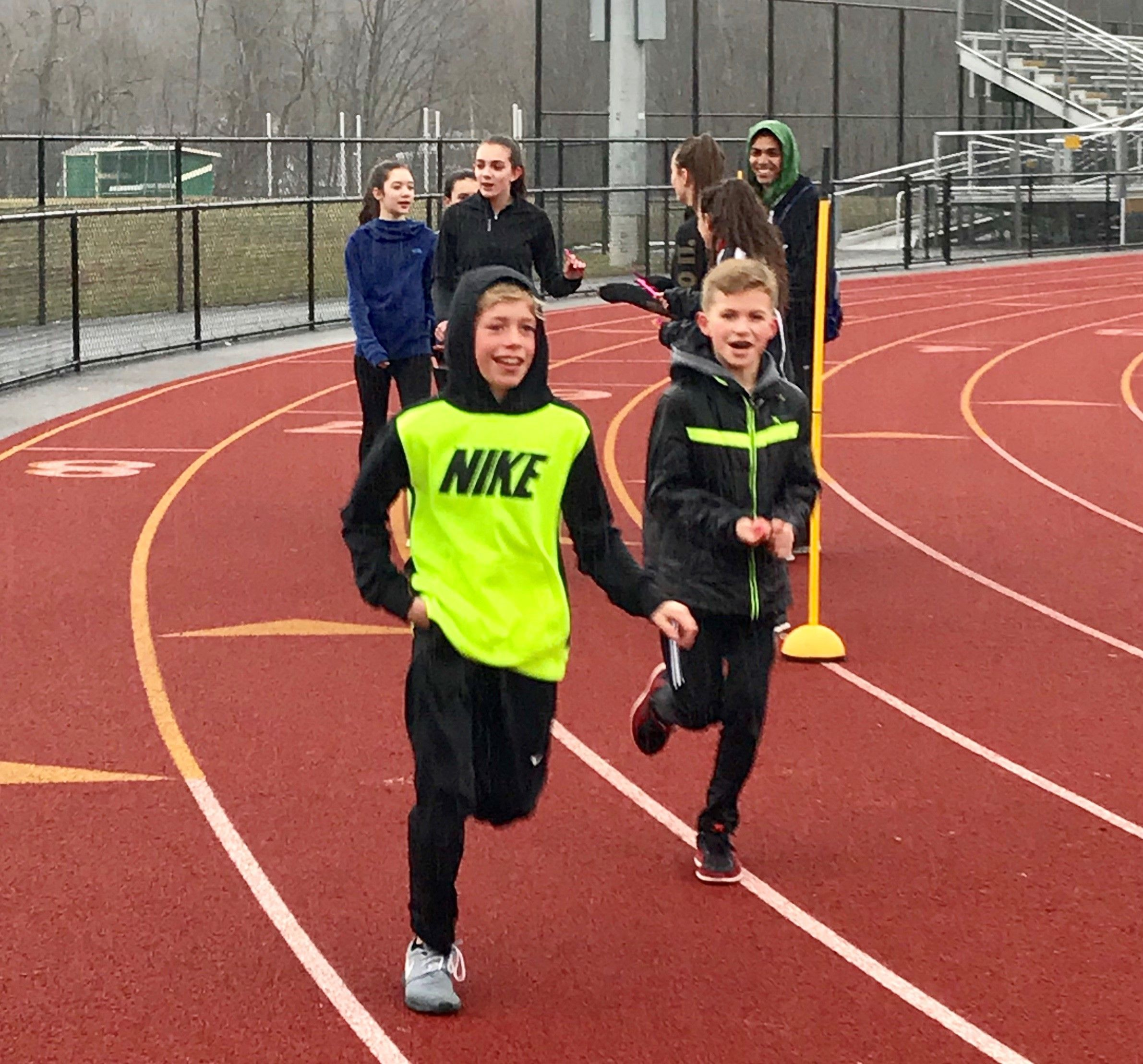 Children run the track at Franklin D. Roosevelt High School as part of the new Presidents Running Club. The facility will be the new home for the Summer Twilight Track Series starting July 5.