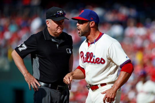 Philadelphia Phillies manager Gabe Kapler, seen here arguing with umpire Mike Everitt on Saturday, has come under increasing criticism in recent days.