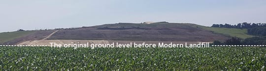 From a 1953 topographical map it appears the pre-landfill elevation of the field was about 500 feet. Today, the elevation is 770 feet above sea level.