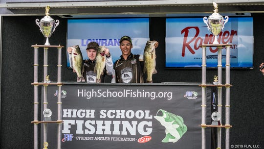 Anthony Cicero IV and Dakota Snyder, both of Elizabethtown, won the 2019 TBF Student Angler Federation High School Fishing World Finals. By winning, they now have their choice of scholarship offers from Bethel University (Tennessee), Simpson University (California) or Kentucky Christian University.