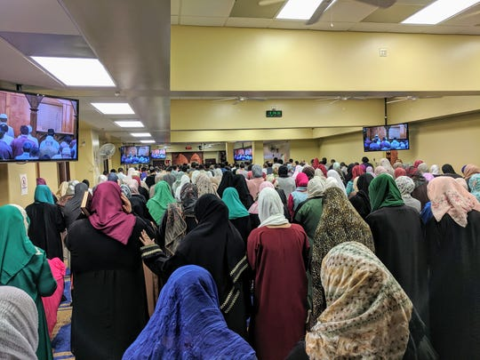 Muslims line up for prayer at Memphis Islamic Center in Memphis, Tennessee.