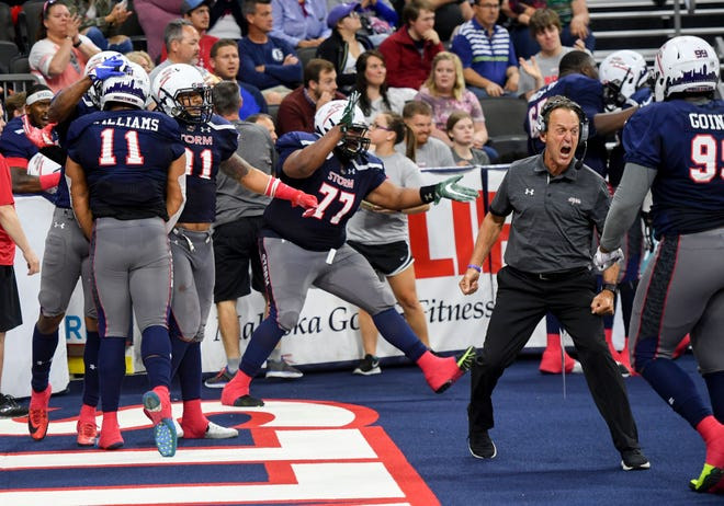 The Sioux Falls Storm celebrates a successful play versus the Tucson Sugar Skulls in the playoffs Sunday, June 23, at the Denny Sanford Premier Center in Sioux Falls.