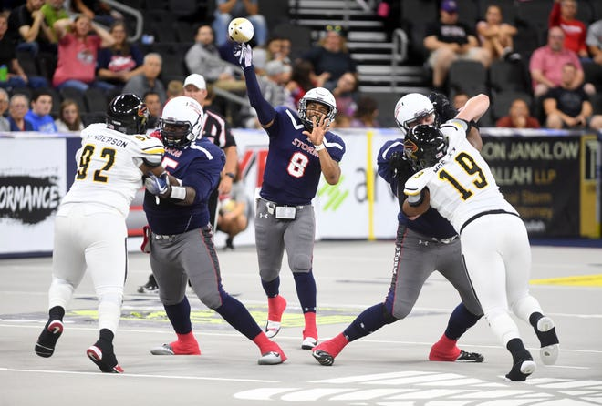 Sioux Falls Storm quarterback Lorenzo Brown makes a pass during a game against the Tucson Sugar Skulls in the playoffs Sunday, June 23, at the Denny Sanford Premier Center in Sioux Falls.