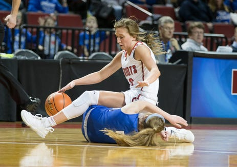 Millard South's Madison Krull grabs the loose ball over Lincoln East's Delaney Roberts during girls state basketball at the Pinnacle Bank Arena on Thursday, Feb. 28, 2019, in Lincoln, Nebraska