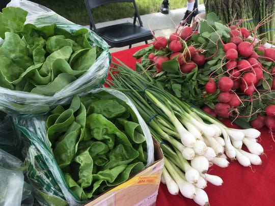 Lettuce, green onions and radishes were on display at the Greenbush Farms booth Monday, June 17 at the Sartell Farmers Market.