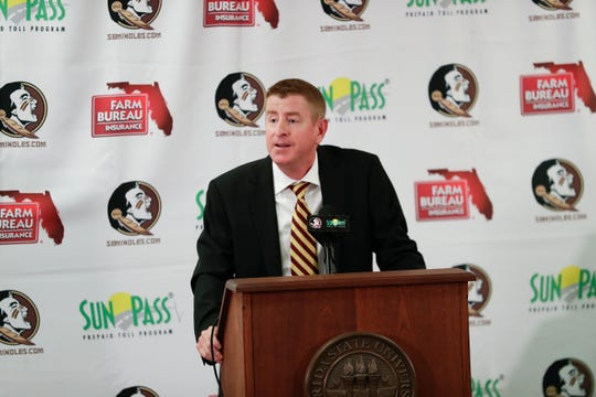 Mike Martin Jr. speaks at a news conference held to officially announce him as the new head baseball coach for Florida State University Monday, June 24, 2019.