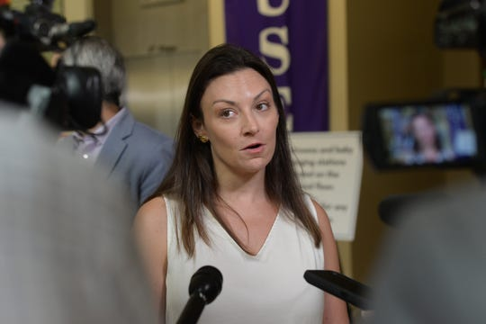 Agriculture Commissioner Nikki Fried speaks to the press during the North Florida session of the Hemp Rules Workshop at the R.A. Gray Building Monday, June 24, 2019.