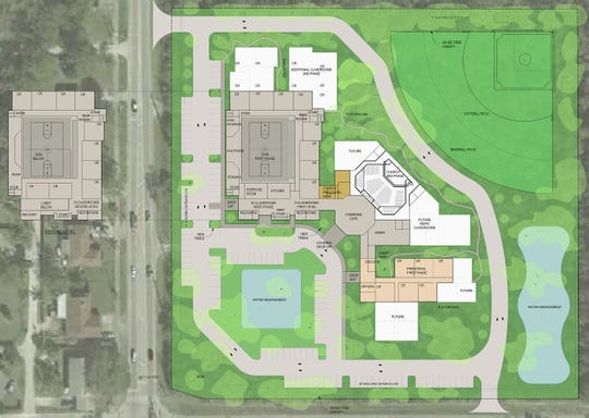 This site plan, designed by Rardin & Carroll Architects in 2018, is for Glendale Christian School, which plans to build a new campus accommodating a maximum of 400 students at Fourth Street and 27th Avenue, south of Vero Beach.
