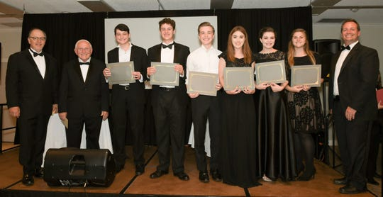 Treasure Coast Youth Symphony Conductor and Director Award winners, from left, Thomas Servinsky (conductor), John Enyart Sr. (conductor), Adam Savage, Cameron Slack, Brandon Gunter, Zoe Olson, Brooke Gunter, Charlotte Strohl and Ben Enyart (conductor).