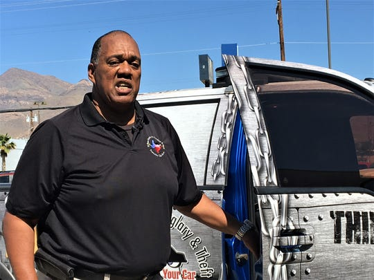 El Paso Auto Theft Task Force spokesman Stephen Plummer shows off a pickup decorated to raise auto-theft awareness on Monday, June 24, 2019.