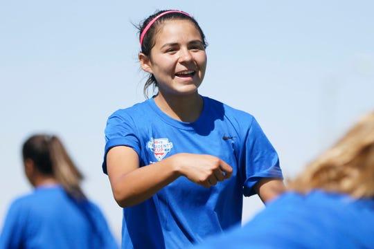 El Paso Rage's Bianca Chacon jokes with her teammates during practice Monday, June 24, 2019, at the West Side Soccer Complex in El Paso. The team is going to the National Presidents Cup in Murfreesboro, Tennessee, in July.