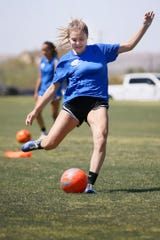 El Paso Rage's Emily Hill kicks during practice Monday, June 24, 2019, at the West Side Soccer Complex in El Paso. The FC U18 girls soccer team is going to the National Presidents Cup in Murfreesboro, Tennessee, in July.