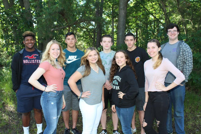 Millville High School's Students of the Month for June are: (front row, from left) AlainaHubbard, KyleighHarbison, KeirstinRoscoe and Taylor Chard; and (back row, from left) DariusWatson, ZacharyNolter, WesleyPezzella, BrandonHack and MatthewDugan.