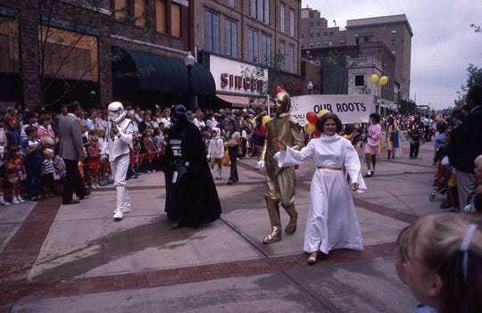 During the opening celebrations for the Wausau Center mall in August 1983, people in the parade dressed up as characters from Star Wars.