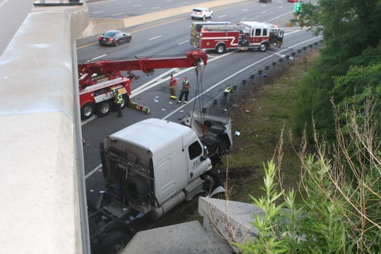 A tractor-trailer crash snarled westbound traffic on Interstate 287 in White Plains on June 24, 2019.