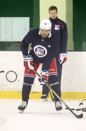 K'Andre Miller practices drills during the first day of New York Rangers development camp June 24, 2019 at Chelsea Piers in Stamford, Conn.