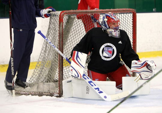 Goaltender Igor Shesterkin practices drills during the first day of New York Rangers development camp June 24, 2019 at Chelsea Piers in Stamford, Conn.