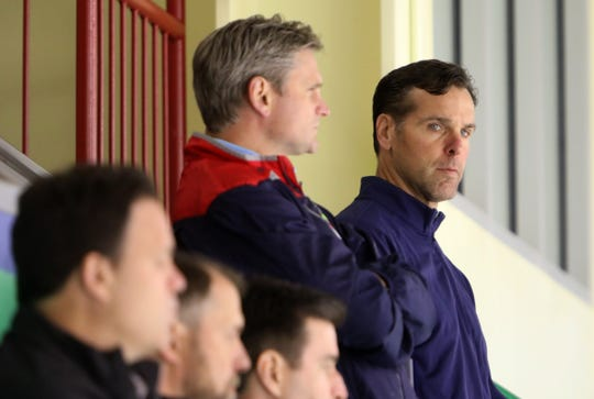 Head coach David Quinn during the first day of the New York Rangers development camp June 24, 2019 at Chelsea Piers in Stamford, Conn.