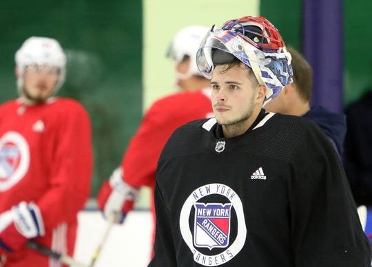 Goaltender Igor Shesterkin on the ice during the first day of New York Rangers development camp June 24, 2019 at Chelsea Piers in Stamford, Conn.