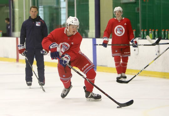Vitali Kravtsov practices drills during the first day of New York Rangers development camp June 24, 2019 at Chelsea Piers in Stamford, Conn.