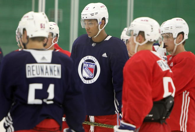 K'Andre Miller on the ice during the first day of New York Rangers development camp June 24, 2019 at Chelsea Piers in Stamford, Conn.