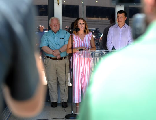 Jana Schmader, executive director of Downtown Wichita Falls Development, Inc., gives a annouces the new office building for Downtown Development Monday, June 24, 2019, at 709 Indiana Avenue next to Wichita Falls Brewing Company.