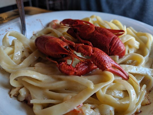 Crawfish pasta alfredo at Crawdaddy's.