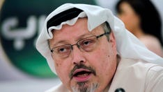 In this 2014 file photo, Saudi journalist Jamal Khashoggi speaks during a press conference in Manama, Bahrain.