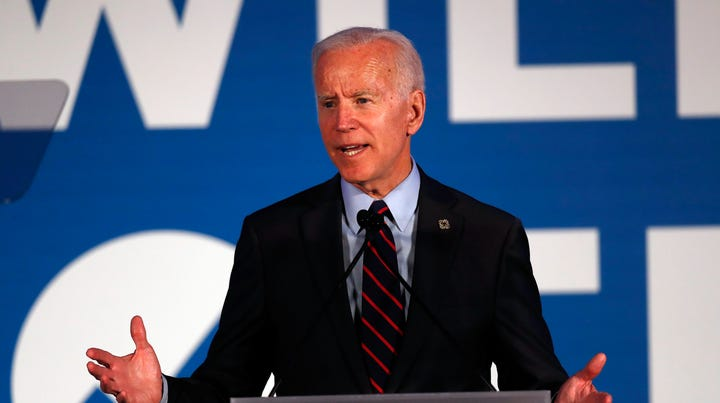 """FILE - In this June 6, 2019, file photo, Democratic presidential candidate former Vice President Joe Biden speaks in Atlanta. As Democratic presidential hopefuls prepare for their first 2020 primary debate this week, 77 medical and public health groups aligned on Monday, June 24, to push for a series of consensus commitments to combat climate change _ bluntly defined by the organizations as """"a health emergency."""" (AP Photo/John Bazemore)"""