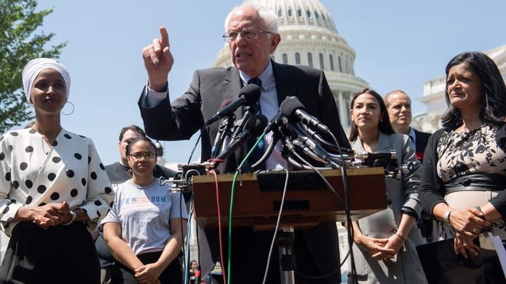 From left, Rep. Ilhan Omar, Sen. Bernie Sanders,  Rep. Alexandria Ocasio-Cortez and Rep. Pramila Jayapal introduce the college proposal on June 24, 2019.