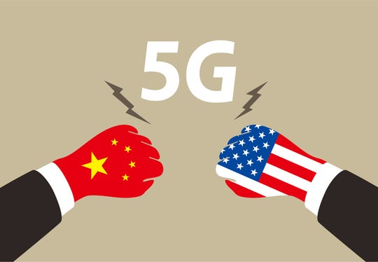 American and China business fighting for 5G ,  vector illustration